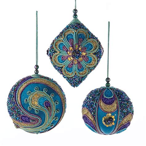 teal purple and gold beaded christmas holiday ornaments