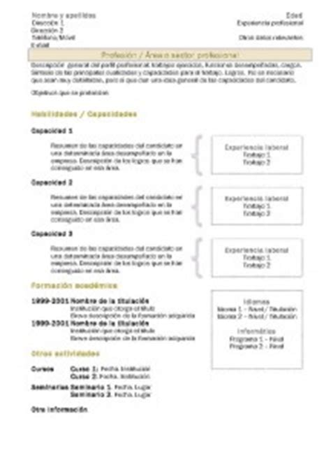 Plantillas De Curriculum Vitae Tematico Curriculum Funcional O Tem 225 Tico