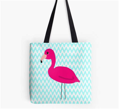 Tote Bag Chevron Pink White pink flamingo teal and white chevron tote bag