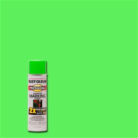 rust oleum professional 15 oz 2x fluorescent green marking spray paint 6 pack 266574 the