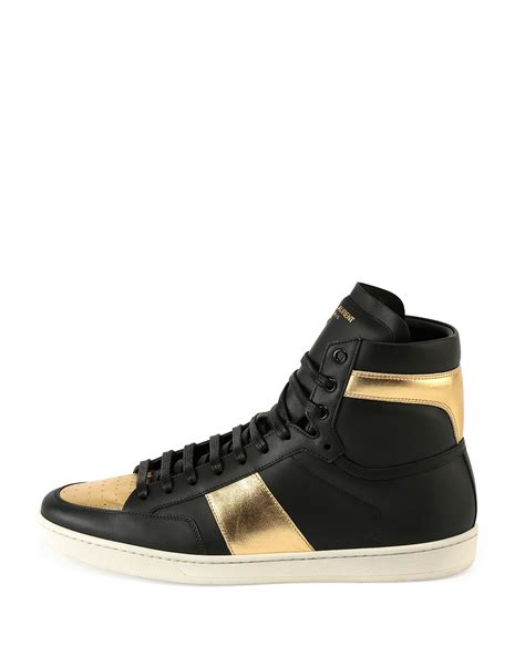 s laurent sneakers laurent sl 18h leather high top sneaker in metallic