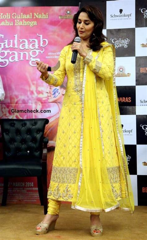 Syali Dress madhuri dixit in yellow anarkali 2014 at gulaab promotions