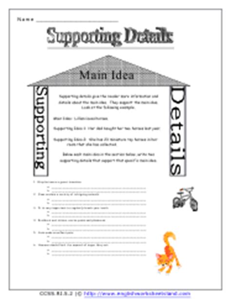 Idea And Supporting Details Worksheets 2nd Grade by Supporting Details Worksheets