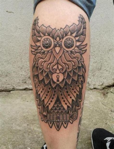 owl tattoo on leg calf by alex gallo seven styles for a kickass calf tattoo tattoodo