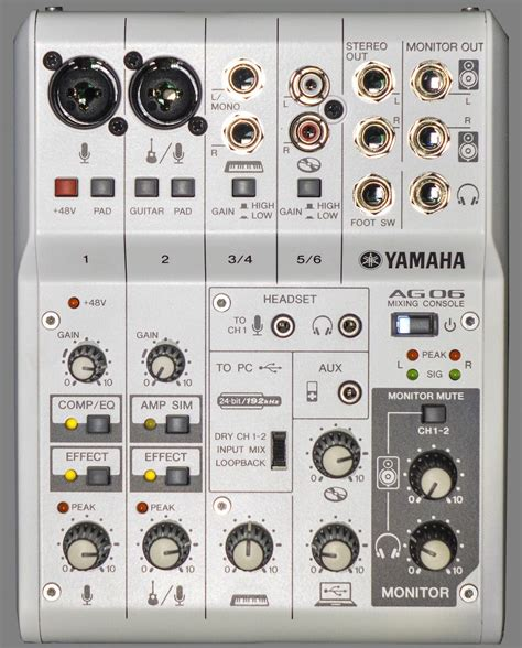 Mixer Yamaha Ag06 review yamaha ag06 6 channel mixer usb audio interface