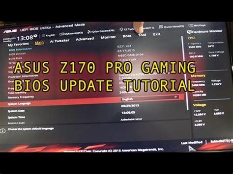 reset bios z170 bios update guide asus z170 pro gaming motherboard youtube