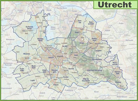 map cities and towns map of utrecht province with cities and towns