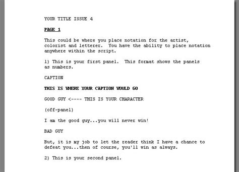 comic book script template comixwriter scriptwriting software for comic books by