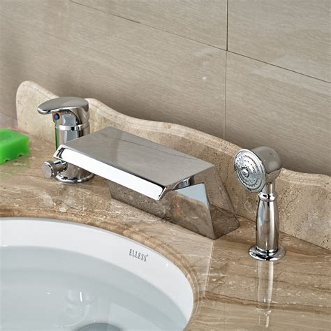 one piece bathtub faucet chrome wide waterfall spout bathtub mixer taps deck mount