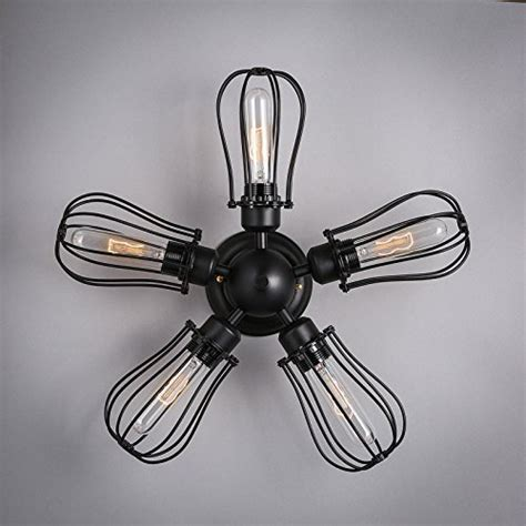 Wrought Iron Ceiling Fan With Light Efinehome Efine 5 Lights Vintage Industrial Pomelo Cage To Ceiling Lights And Wall Ls