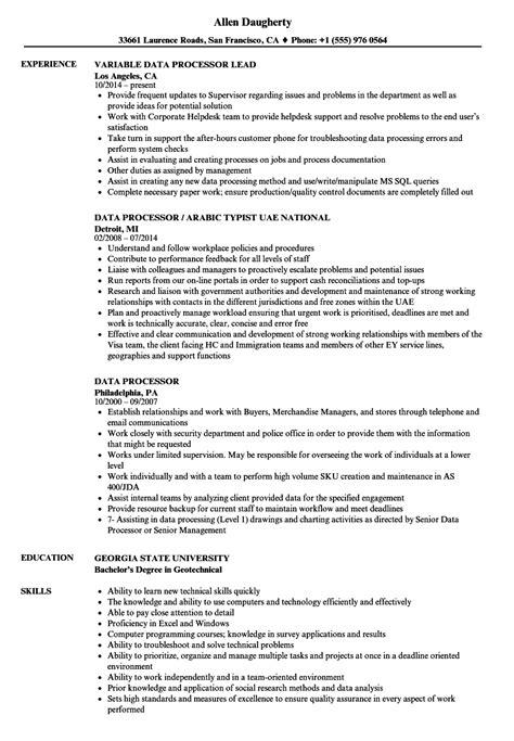 data processor resume sles velvet