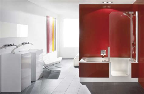 Bathroom Update Ideas walk in tubs shower combo with red and white colors home