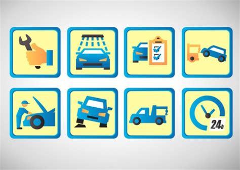 wartung auto auto wartung icon set der kostenlosen vektor