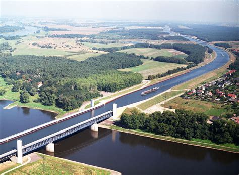 Magdeburg Water Bridge, the Longest Navigable Aqueduct in