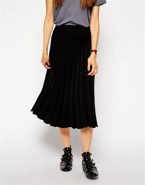 knit pleated midi skirt lyst asos pleated midi skirt in knit in black