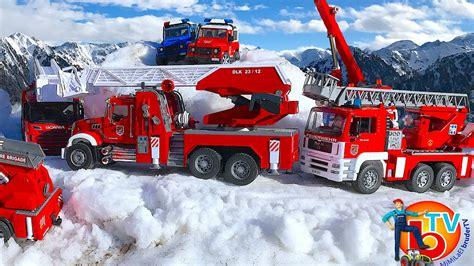 bruder fire truck bruder toys fire truck man mercedes benz scania mack youtube