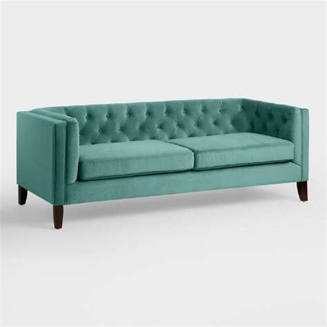 kendall sofa teal velvet kendall sofa world market