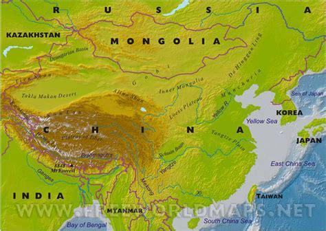 physical map of china china physical map