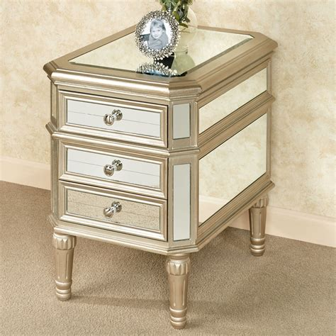 Mirrored Side Table Hadleigh Three Drawer Mirrored Side Table