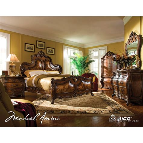 aico palais royale 4pc king panel bedroom set in rococo cognac finish for 8 544 00 in bedroom