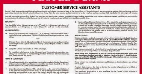 peoples bank customer service assistant vacancies application info squart
