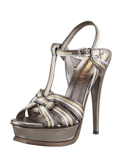 laurent tribute sandal laurent tribute sandal in metallic lyst