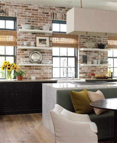 brick wall in kitchen brick walls in kitchens loads of white built in