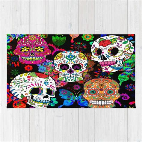 skull area rug sugar skull throw rug or area rug rocking the color
