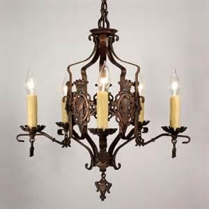 Antique Iron Chandelier Handsome Antique Iron Revival Five Light
