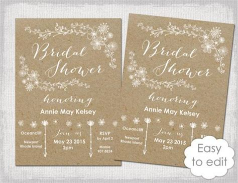 Bridal Shower Invitation Template Rustic Printable Templates Diy Quot Whimsical Kraft Quot Wedding Free Printable Rustic Bridal Shower Invitation Templates