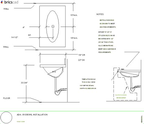 commercial model requirements ada compliant vanity layout using 810 bowl aia cad