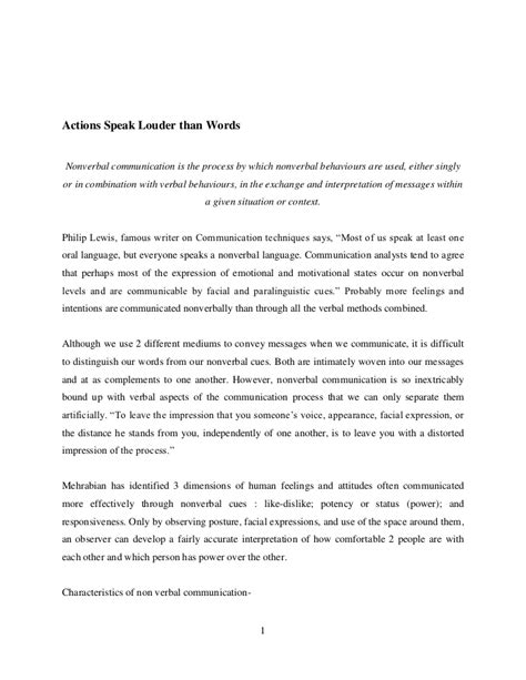 Actions Speak Louder Than Words Essay by Actions Speak Louder Than Words