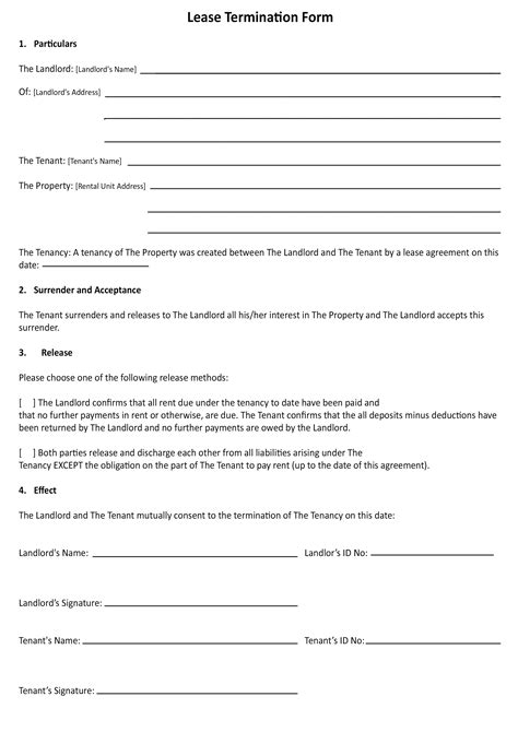 Lease Termination Agreement Template Free cancellation of lease agreement template south africa 28