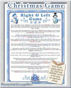 winter right and left story game baby or bridal shower