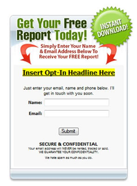 free subscription form template email opt in template