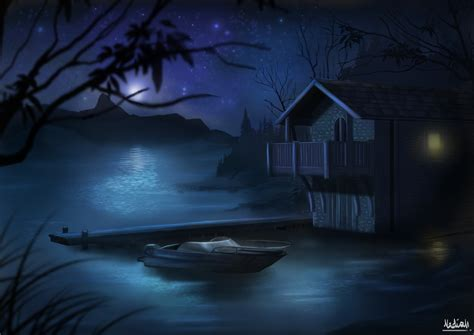 paint nite in your home digital painting practice lake house by kisetsukaze