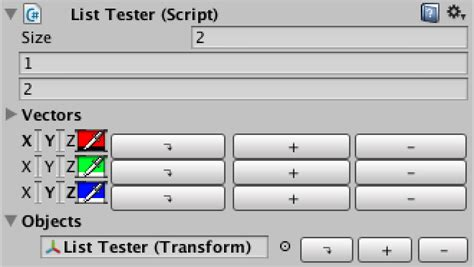 unity editor layout object unity3d in the inspector panel to add a variety of