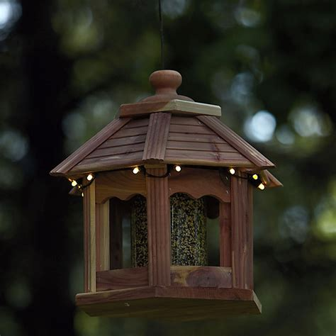 Lighted Bird Feeder Lighted Cedar Gazebo Bird Feeder The Green