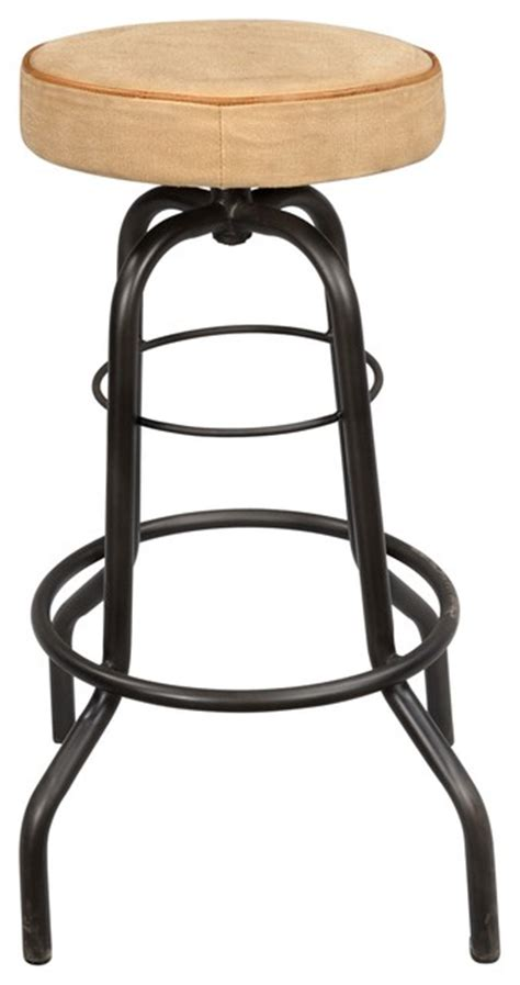 Iron Pipe Bar Stool by Iron Pipe Base Barstool With Canvas Seat Transitional