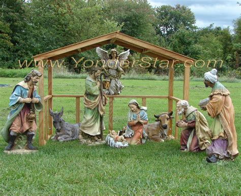 outdoor nativity scene with wooden manger