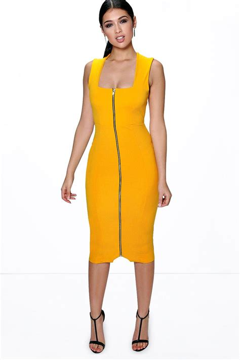 Zip Up Mini Bodycon Dress boohoo womens sia square neck zip front midi bodycon dress