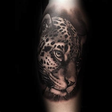 jaguar tattoo black and grey 60 leopard tattoos for men designs with strength and prowess