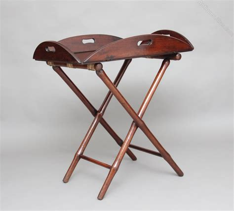 Folding Butlers Tray Table 19th Century Mahogany Folding Butlers Tray On Stand Antiques Atlas