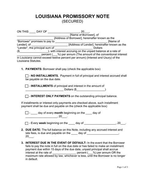 secured promissory note template free louisiana secured promissory note template word