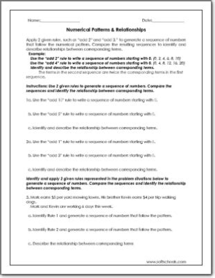 pattern relationship worksheets pattern worksheets 187 oa pattern worksheets free