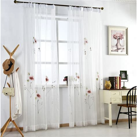 Sheer Elegance Curtains White Floral Sheer Curtains For Windows