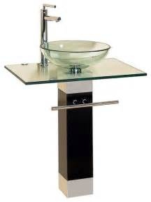 contemporary bathroom sinks bathroom vanities wood pedestal glass vessel sink combo