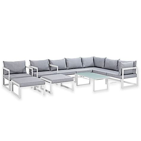 Sofa Bed Fortuna modway fortuna outdoor10 patio sectional sofa set bed bath beyond