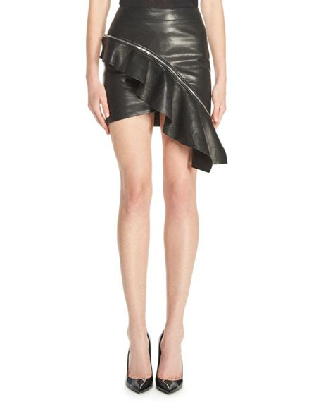 laurent ruffled leather mini skirt