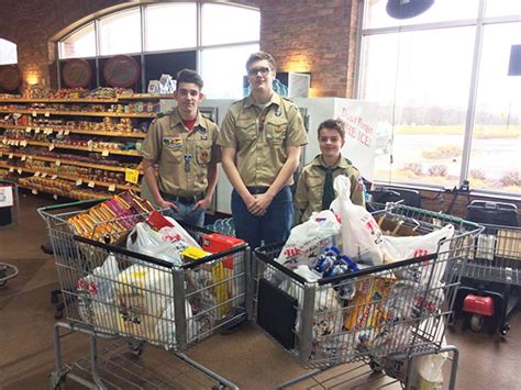 boy scouts collect food for pantry cedar springs post